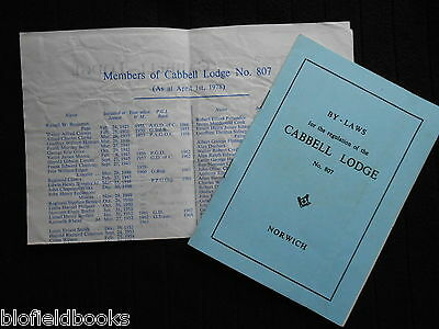By Laws for the Regulation of Cabbell Lodge, Norwich, 1980 + 1978 Member List