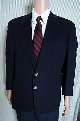 VTG '90s Alan Lebow Navy Blue 100% Cashmere two button sport coat blazer 44