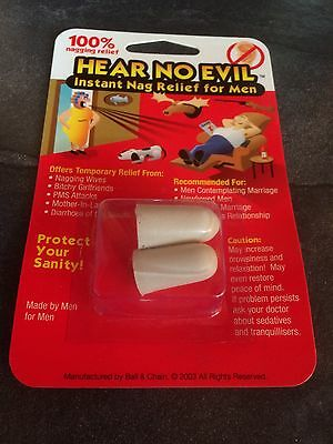 Hear No Evil Ear Plugs Instant Nag Relief For Men Novelty Gag Gift Present Joke