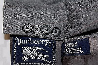 BURBERRY 42L Gray Striped 2Bttn Wool Suit Flat Front Pants 34 X 32