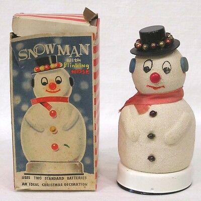 Vtg Dan-Dee Products Snowman Lantern w Blinking Nose and OB 1950s
