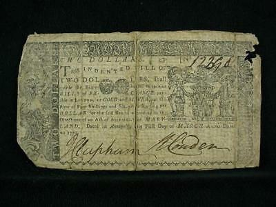 NobleSpirit NO RESERVE {3970} Desirable $2 Colonial Currency 1770 Maryland F/VF