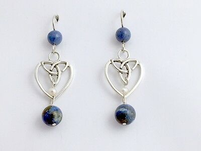 Sterling silver heart with Celtic Trinity knot dangle earrings-denim lapis,pearl