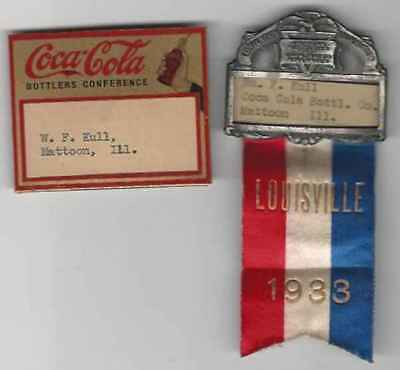(2)Coca-Cola Badge/ribbon,american Bottlers Of Carbonated Beverages,expo 1933