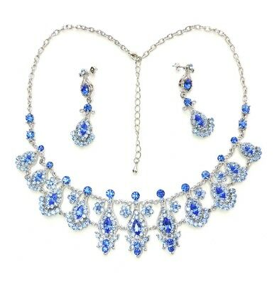 Necklace Earrings Set Sapphire Color Blue Floral For Wedding Party Prom