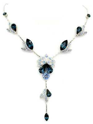 Navy Blue Crystal Floral Necklace Earrings Set Bridesmaid Wedding Party Prom