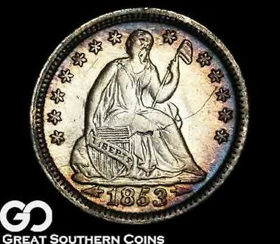 1853 Seated Liberty Half Dime, Peripheral Rainbow Toning!