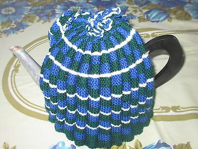Extra Large Blue Green & White Tea Cosy handmade for a large teapot or kettle