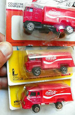 """(Lot Of 3 Different Cab) """"enjoy Coca-Cola"""" Red Die-Cast Delivery Trucks"""