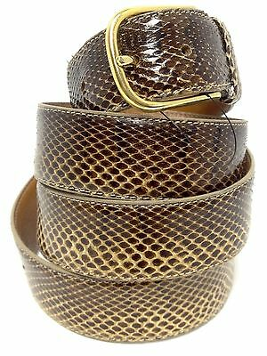 SALE Vintage 70s Snakeskin Belt Authentic Brown Leather Gold Buckle 39-44 42 NOS