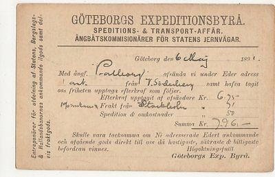 Sweden, Goteborgs Expeditionsbyra Postcard, B147