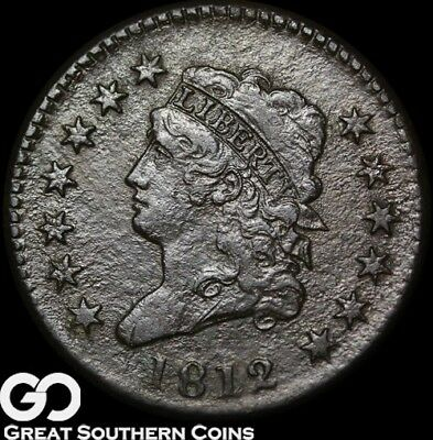 1812 Large Cent, Classic Head, RARE Coin, Super Scarce ** Free Shipping!