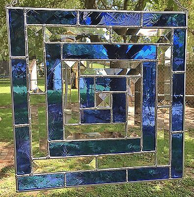 "STAINED GLASS ART WINDOW PANEL SUNCATCHER BEVELS & COBALT TIFFANY STYLE 11""x11"""