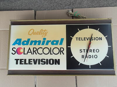 Vintage Admiral Television Clock Light Sign (Rare) 28.5 X 16X 4.5 Ul Electric