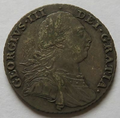 Britain 1787 Shilling No Hearts - XF, George III Better Date &Grade coin(222204B