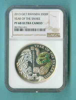 Rwanda The Snake 2013 Pave Crystals 3D Ngc Pf-68 Comp Pckg Inc