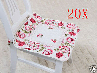 20X Pastoral Style Red Flowery 45 * 45 CM Cotton Practical Chair Mats Pads
