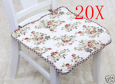 20X Pastoral Style Green Flowery 45 * 45 CM Cotton Practical Chair Pads Mats