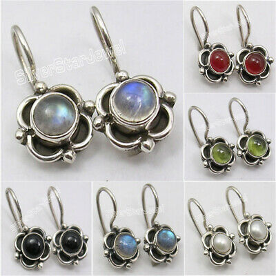 925 Solid Silver Natural Gemstones Earrings ! Vintage Style Women's Jewelry NEW
