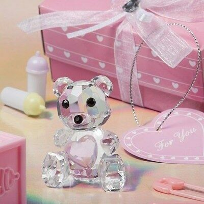 20 Choice Crystal Teddy Bear with Pink Heart Christening / Baby Shower Favors
