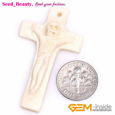 Personality 27x48mm Jesus Cross Shape Carved Bone Beads for Jewelry Making 1 pcs