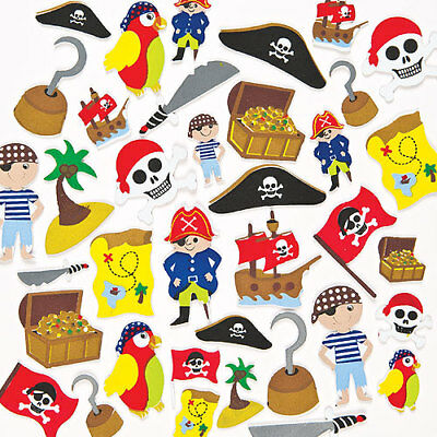 Pirate Foam Stickers for Kid's Themed Crafts & Card Making Projects (Pack of 96)