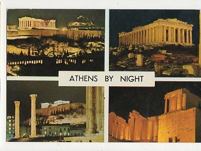 Athens By Night Greece Postcard 067a
