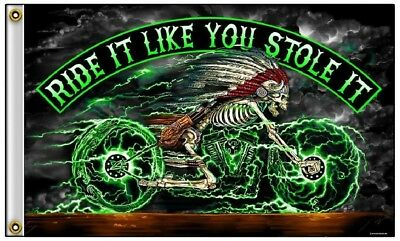 Ride It Like You Stole It Electric Skeleton Motorcycle Polyester 3x5 Foot Flag