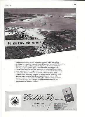 1956 Chubb Insurance Ad- Nice Photo of Tangier, Virginia