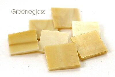 "125 Honey and Cream 1"" Square Hand Cut Stained Glass Mosaic Tiles"