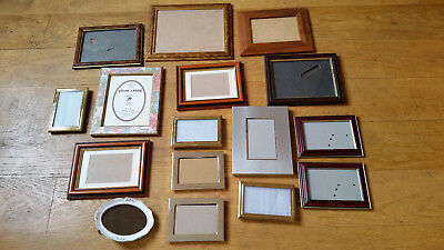 Job Lot 16 Shabby Chic Vintage Picture Photo Frames Wooden Gold Silver