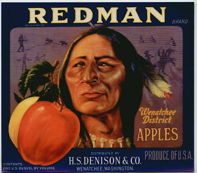 REDMAN Vintage Wenatchee Apple Crate Label Indian, blue, ***AN ORIGINAL LABEL***