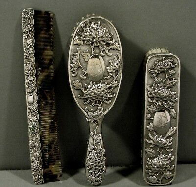 Chinese Export Silver Dresser Set    WF c1890   3 Pieces