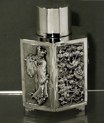 """Chinese Export Silver Tea Caddy    MAIDEN w FLUTE     """"KW""""        $2600 -  $1950"""