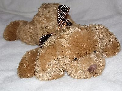 Chad Valley Puppy Dog Soft Toy Brown Comforter Doudou Polka Dotty Neck Ribbon