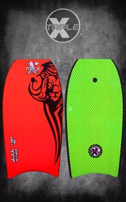 "New Triple X ""The Dubb"" 44"" Bodyboard/Boogieboard/Red/With Coiled Leash"