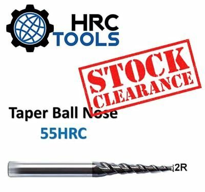 Clearance - Solid Carbide Taper Ball Nose 55HRC TiAlN