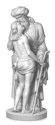 LOST POOR PRODIGAL SON RETURNS HOME TO FATHER ~ 1859 BIBLE Art Print Engraving