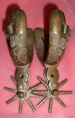 Vintage Antique BEAUTIFUL ENGRAVED BRASS MEXICAN SPURS
