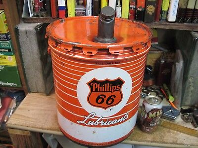 PHILLIPS 66 MOTOR OIL 5 GALLON GAS CAN TIN FILLING STATION GREASE petroleum