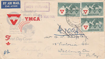 Australia 62 - 1955 YMCA first day cover to NZ marked NOT KNOWN
