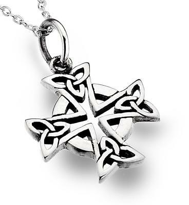 Celtic Cross Pendant Triquetra Knotwork 925 Sterling Silver Sea Gems Jewellery
