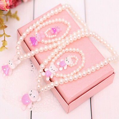 Children Girls Princess Baby Beads Necklace&Bracelet&Ring Set Jewelry Gift TO