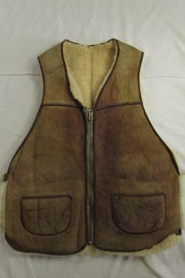 Vtg 50s 60s Shearling Suede Leather Vest Bomber Lenzip Worn Work Sherpa Rare!