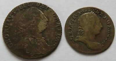 Britain 1787 Six 6 Pence VF + 1762 Three 3 Pence Fine, British coins (231327B)