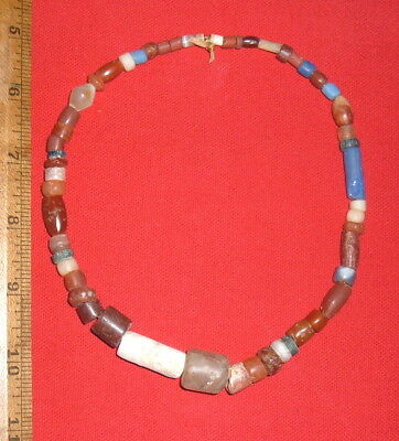 """15"""" Strand Colorful Sahara Neolithic Stone Beads, Prehistoric African Artifacts"""
