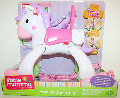 Little Mommy 2 Way Play all Day Pony Stolling Rocking Doll Fisher price NEW