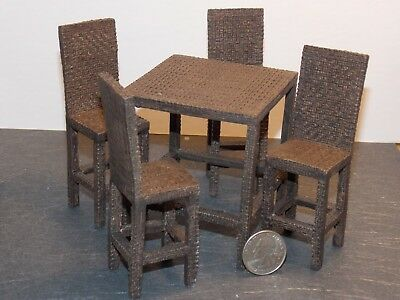 Dollhouse Miniature Hi-Top Dining Table Set Faux Wicker 1:12 one inch scale Y35