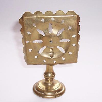 Antique VICTORIAN BRASS Tilting TABLE CANDLE REFLECTOR Pierced & Wavy Edged Top