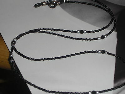 "Eyeglass Chain~Basic Black with Onyx Accents~28""~Handmade in USA~Buy 3 SHIP FREE"